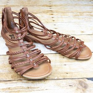 Faux Leather Studded Sandals